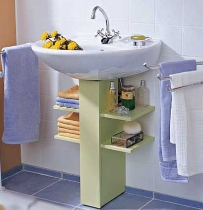 как хранить под раковиной в ванной