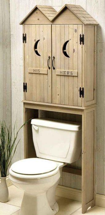 деревянный шкаф над унитазом