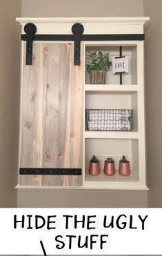 шкафчик из дерева над унитазом