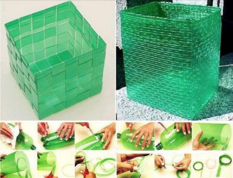 Корзина-для-белья-из-пластиковых-бутылок-фото