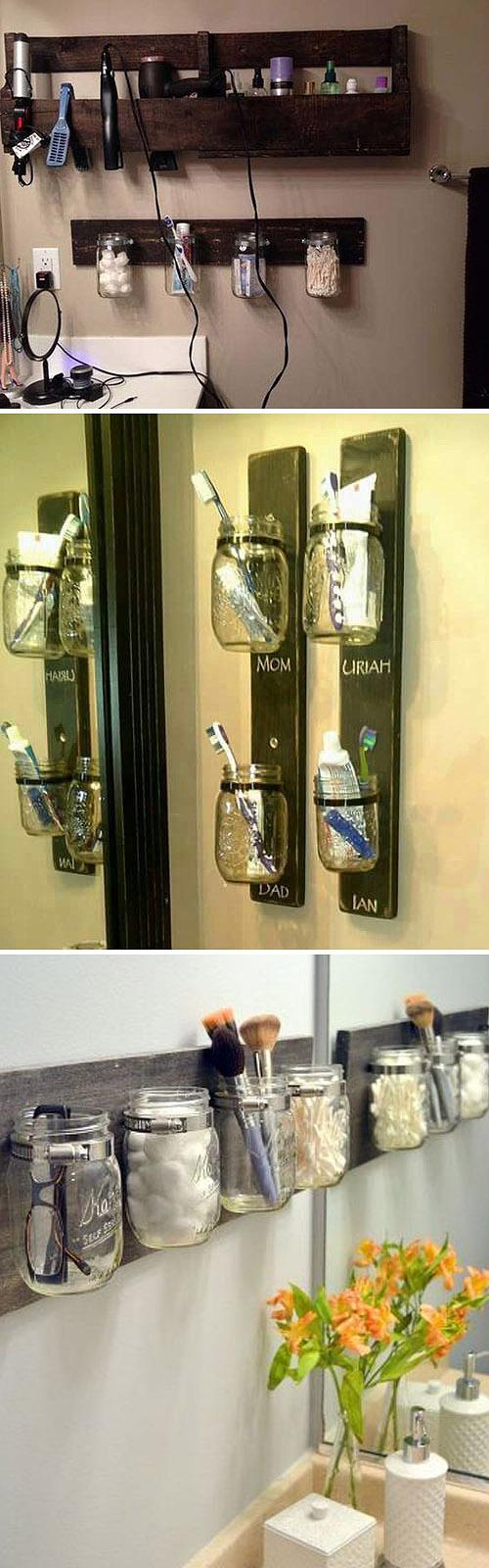 хранение мелочевки в ванной в банках